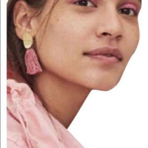 Madewell Tassel Statement Earrings in Retro Pink